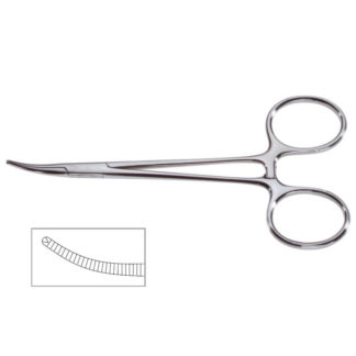 "Halstead Mosquito Forceps, 5""(12.5cm), Curved, 1x2 Teeth"
