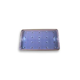 "Sterilization Tray Single Level Shallow w/ Clear Lid And Silicone Mat 6-1/2"" x 10-1/2"" x .62"""