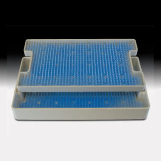 "Sterilization Tray Double Level Base, Lid And 2 Mats 7"" x 11"" x 1.36"" Tray"