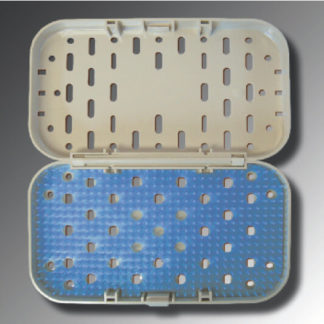 "Sterilization Tray Shallow Instrument Cassette w/ Hinged Lid And Silicone Mat 8"" x 4-1/2"" x .61"""