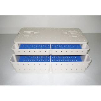 "Sterilization Case 19-3/4"" x 9-1/2"" x 4"", w/Lid And Silicone Mat, Double-Level"